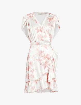 AllSaints Zini Evolution woven wrap mini dress