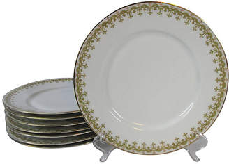 One Kings Lane Vintage Limoges Geometric Lunch Plates - Set of 8 - Stucco Mansion Antiques