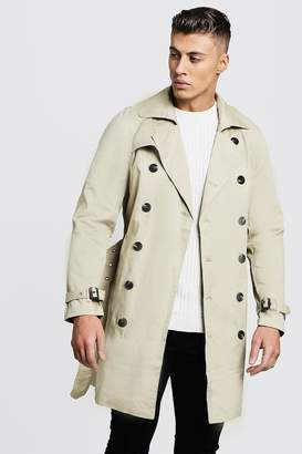 BEIGE BoohoomanBoohooMAN Mens Double Breasted Smart Trench,