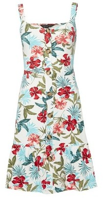 Dorothy Perkins Womens Ivory Tropical Print Strappy Dress