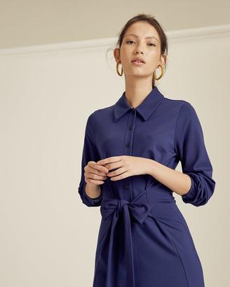 Jigsaw Tie Front Jersey Shirt Dress