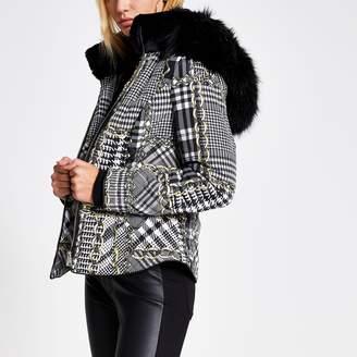 River Island Womens Black printed faux fur hood fitted coat