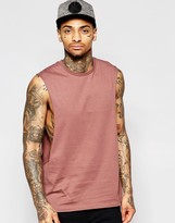 Asos Sleeveless T-Shirt With Extreme Dropped Armhole In Red