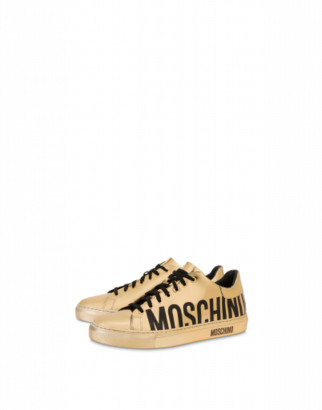 Moschino Sneakers With Laminated Leather Logo Man Gold Size 39 It - (6 Us)