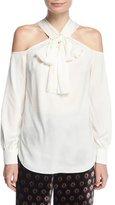 Trina Turk Halter Bow-Tie Long-Sleeve Silk Blouse