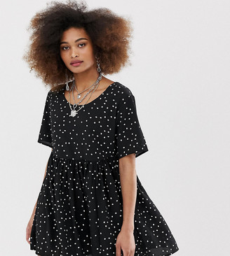Collusion COLLUSION cheese cloth smock dress in polka dot-Black