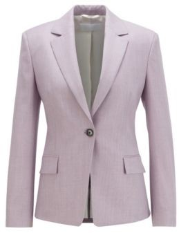 HUGO BOSS Regular Fit Jacket In Virgin Wool With Natural Stretch - Patterned