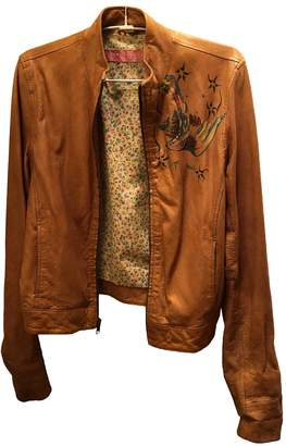 Ventcouvert Camel Leather Leather Jacket for Women