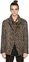 John Varvatos Leopard Double Breasted Wool Jacket