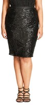 City Chic Plus Size Women's Geo Sequin Pencil Skirt