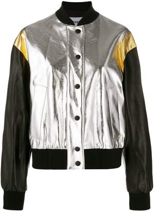 MSGM cropped metallic finish bomber jacket