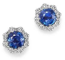 Bloomingdale's Diamond & Blue Blue Sapphire Halo Stud Earrings in 14K White Gold - 100% Exclusive