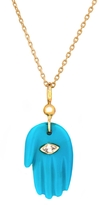 Celine Daoust Turquoise Hand Diamond Eye Necklace