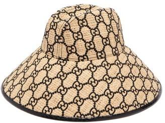 Gucci GG-embroidered Snakeskin-trim Raffia Hat - Black