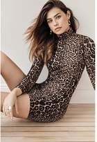 Dynamite Amber Bodycon Turtleneck Dress - Final Sale Leopard Print Brown