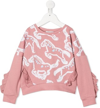 Stella McCartney Kids Horses Cotton Sweatshirt