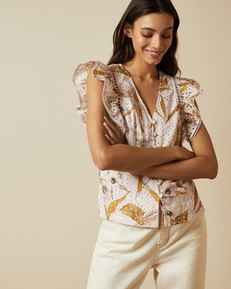 Ted Baker ADAALE Cabana Broderie Anglaise ruffle blouse
