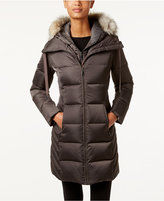 T Tahari Faux-Fur-Trim Hooded Puffer Coat