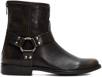 Frye Women's Casual boots DARK - Dark Brown Phillip Harness Leather Short Boot - Women