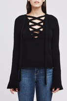 L'Agence Black Lace Up Sweater