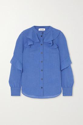 Cefinn - Ava Ruffled Voile Blouse - Light blue
