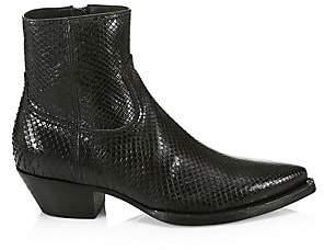 Saint Laurent Men's Lukas Python Leather Ankle Boots
