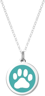 """Auburn Jewelry Paw Print Pendant Necklace in Sterling Silver and Enamel, 16"""" + 2"""" Extender"""