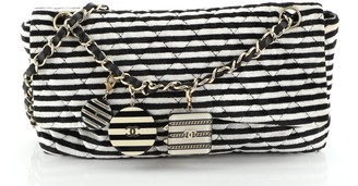 Chanel CC Chain Flap Bag Quilted Striped Velvet Medium