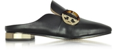 Tory Burch Sidney Black Leather Backless Loafers