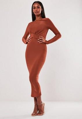 Missguided Slinky Drape Front Midaxi Dress