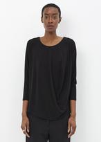 Issey Miyake black drape jersey long sleeve top