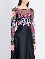 Temperley London Woodland floral-embroidered mesh top