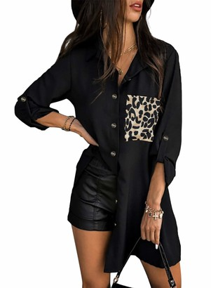 Dokotoo Womens Black Lepoard Fashion Long Work Blouses Ladies Summer Casual V Neck Striped Long Sleeve Button Down Collar Shirts Size 14-16(Large)