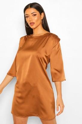 boohoo Shoulder Pad Pleat Detail Shift Dress