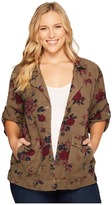 Lucky Brand Plus Size Printed Short Sleeve Military Women's Jacket