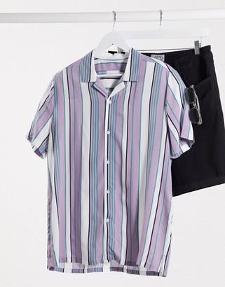 Topman short sleeve striped shirt in lilac