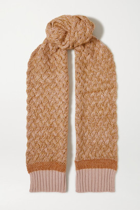 Chloé Cable-knit Melange Wool-blend Scarf - Orange