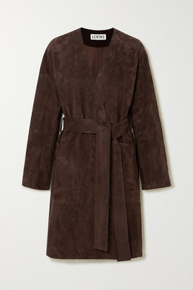 Loewe Belted Suede Coat - Brown