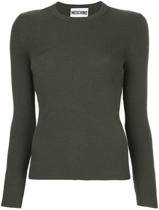 Moschino Ribbed Sweater With Tulle Inset