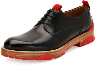 Salvatore Ferragamo Runway Lace-Up Leather Derby Shoe, Black/Red