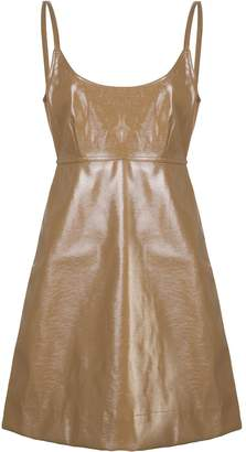 Ganni leather-effect tie dress