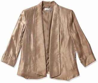Kasper Women's Petite Metallic Fly Away Jacket with Cuffed Sleeves