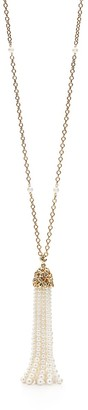 Tiffany & Co. Paloma Picasso Olive Leaf tassel necklace in 18k gold with pearls, large