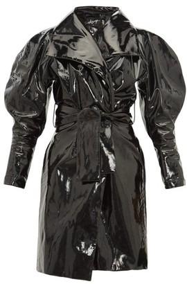 Elzinga - Balloon-sleeve Pvc Trench Coat - Black