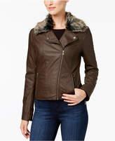 Celebrity Pink Juniors' Faux-Fur-Collar Faux-Leather Jacket