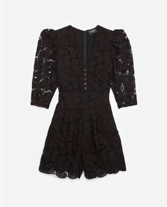 The Kooples Black lace playsuit with button