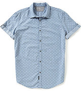 Calvin Klein Jeans Chambray Geo Print Short-Sleeve Shirt