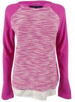 Tommy Hilfiger Women's Layered-Hem Sweater (M, Rose Violet)