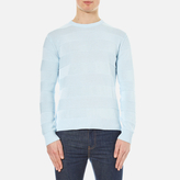 Ami Men's Crew Neck Wide Stripe Sweatshirt Sky Blue