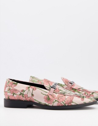 ASOS DESIGN loafers in multi floral print with snaffle